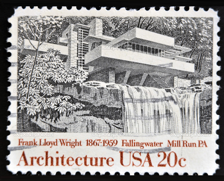 UNITED STATES OF AMERICA - CIRCA 1982: A stamp printed in USA shows Fallingwater, Mill Run, Pennsylvania, by Frank Lloyd Wright, circa 1982