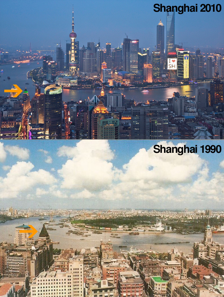 Shanghai and Dubai Now and Then