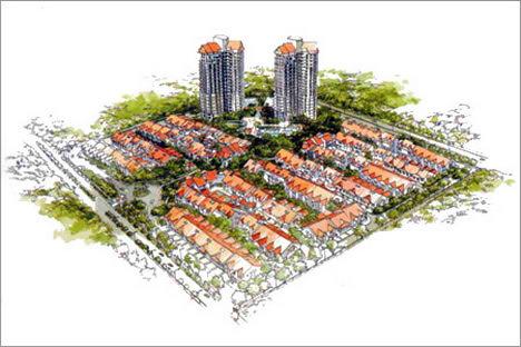 Architecture Illustration water colour marker presentation