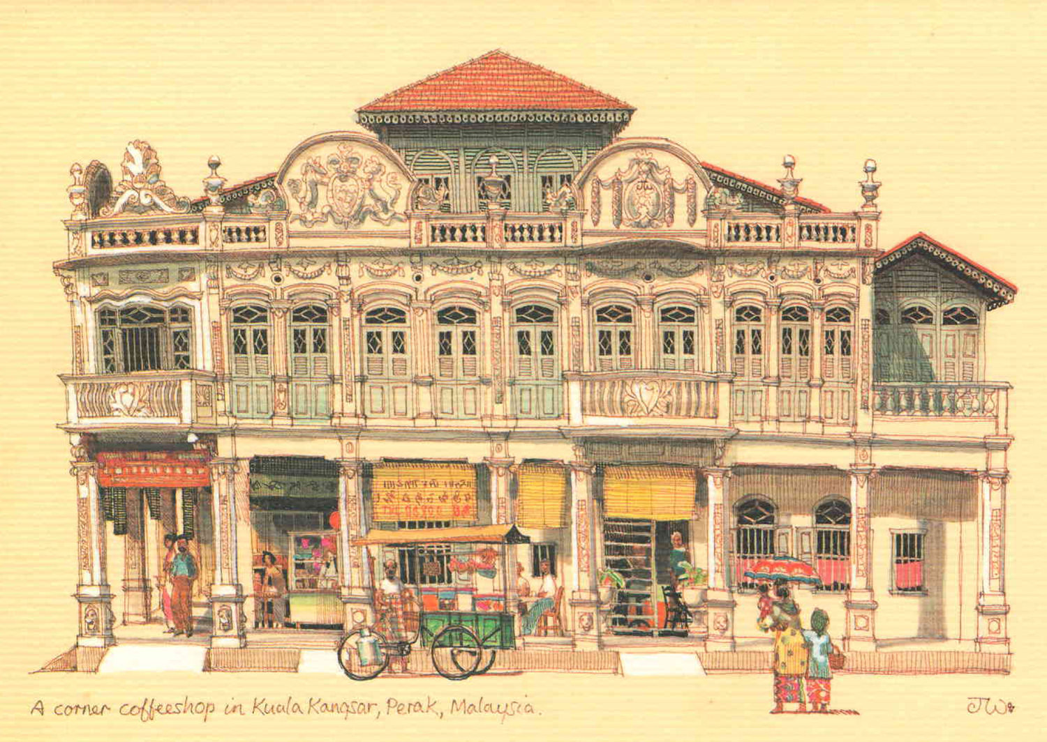 8 postcards on life and colonial architecture in malaya for House design malaysia architecture