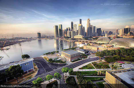 marina bay singapore photo birdeye view city