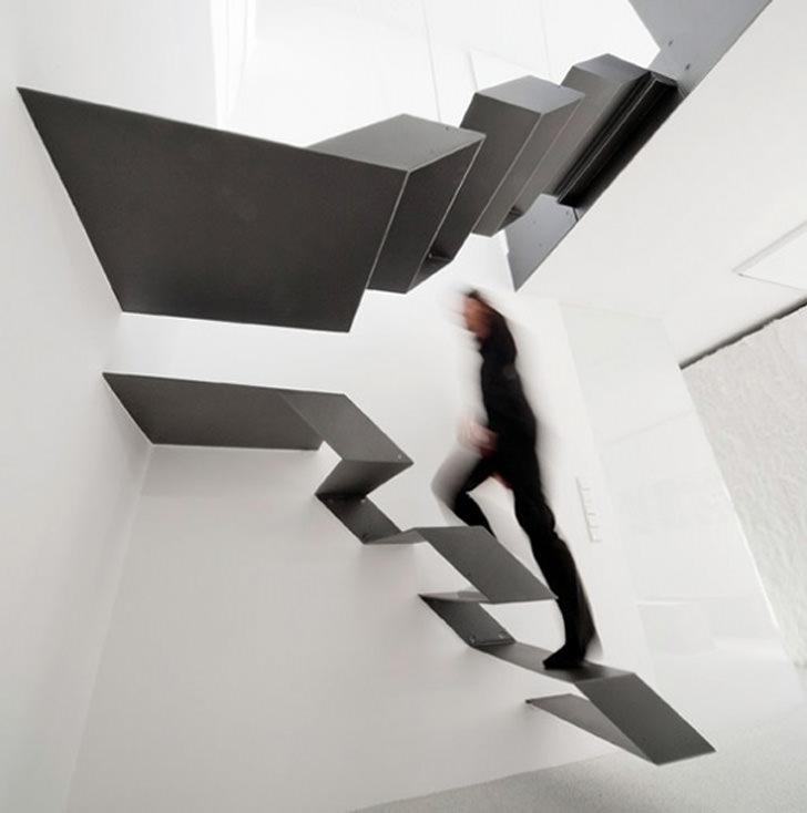 stairs buero loft continuous steel ribbon