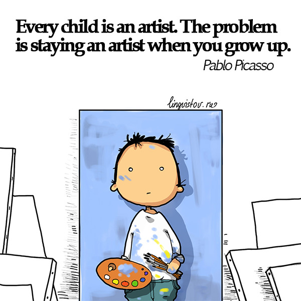Every child is an artist. The problem is staying an artist when you grow up. Pablo Picasso Funny Doodles on Coffee Sleeping Working Life instagram pinterest twitter facebook architecture architect