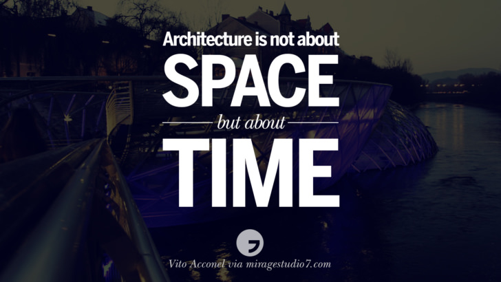 Architecture is not about space but about time. - Vito Acconel Architecture Quotes by Famous Architects instagram pinterest twitter facebook linkedin Interior Designers art design find an architect cost fees landscape