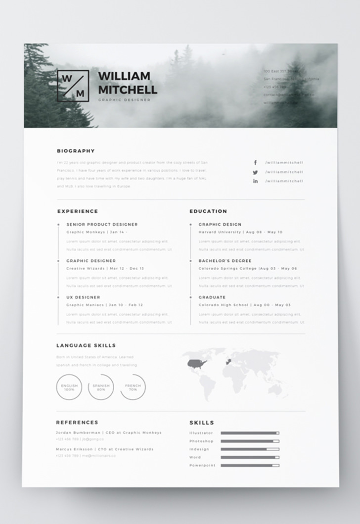 minimalist resume cv in adobe illustrator and photoshop format
