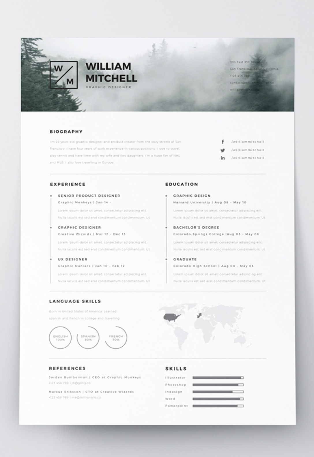 7 Free Editable Minimalist Resume Cv In Adobe Illustrator