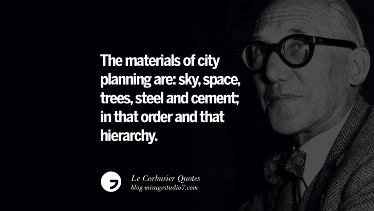 The materials of city planning are: sky, space, trees, steel and cement; in that order and that hierarchy. Le Corbusier Quotes On Light, Materials, Architecture Style And Form