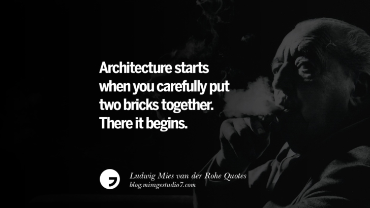 Architecture starts when you carefully put two bricks together. There it begins. Ludwig Mies van der Rohe Quotes On Modern Architecture And International Style