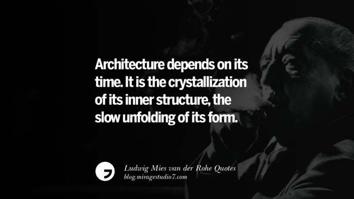 Architecture depends on its time. It is the crystallization of its inner structure, the slow unfolding of its form. Ludwig Mies van der Rohe Quotes On Modern Architecture And International Style