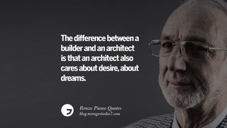 The difference between a builder and an architect is that an architect also cares about desire, about dreams. Renzo Piano Quotes On Changes And The Art of Making Buildings